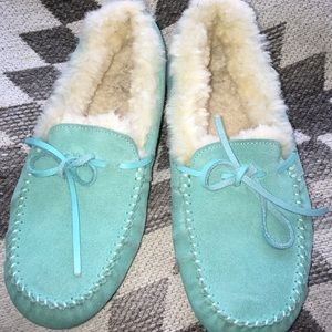 $134 Luxe Australia teal blue moccasin slippers 5